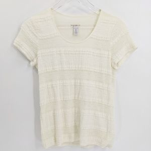 Chico's Ivory Tiered Lace Short Sleeve Top Blouse